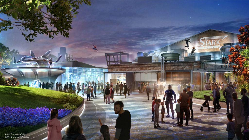 Concept art ufficiale della land Avengers Campus di Disneyland presentata al D23 Expo 2019.