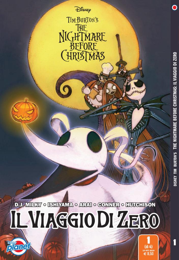 La copertina del fumetto Il viaggio di Zero, spin-off di Nightmare Before Christmas, in fumetteria e libreria dal 15 ottobre 2019.