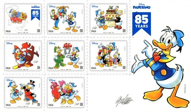 Gli otto francobolli creati da Giorgio cavazzano