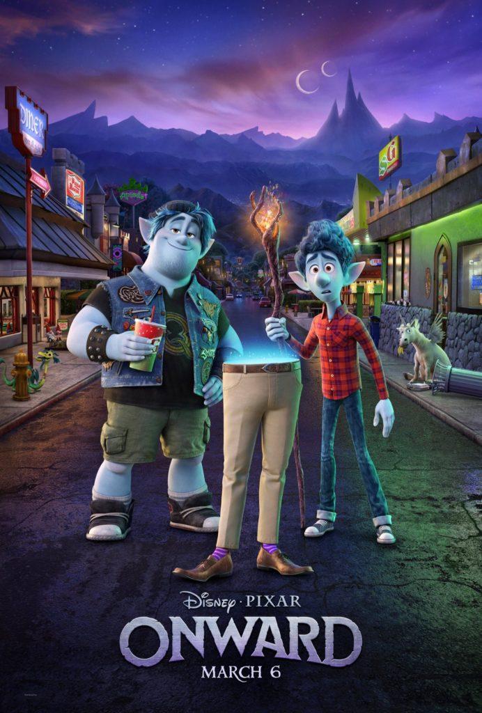 Il poster di Onward, il nuovo film Pixar di genere suburban fantasy in arrivo a marzo 2020.