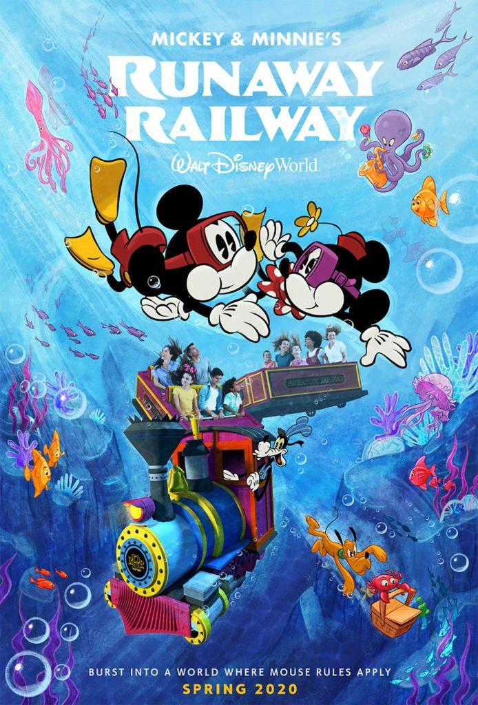 Il nuovo poster di Mickey & Minnie's Runaway Railway, la prima attrazione a tema Topolino in arrivo nel 2020.