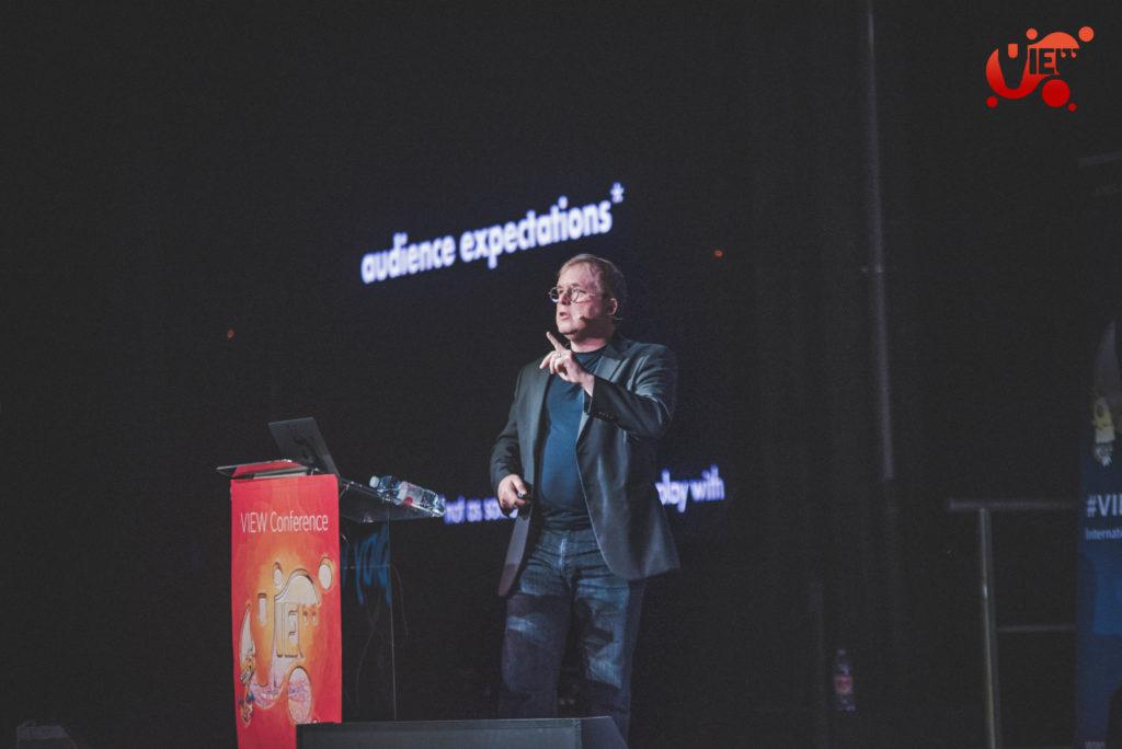 Il regista Brad Bird durante l'evento VIEW Conference 2019.