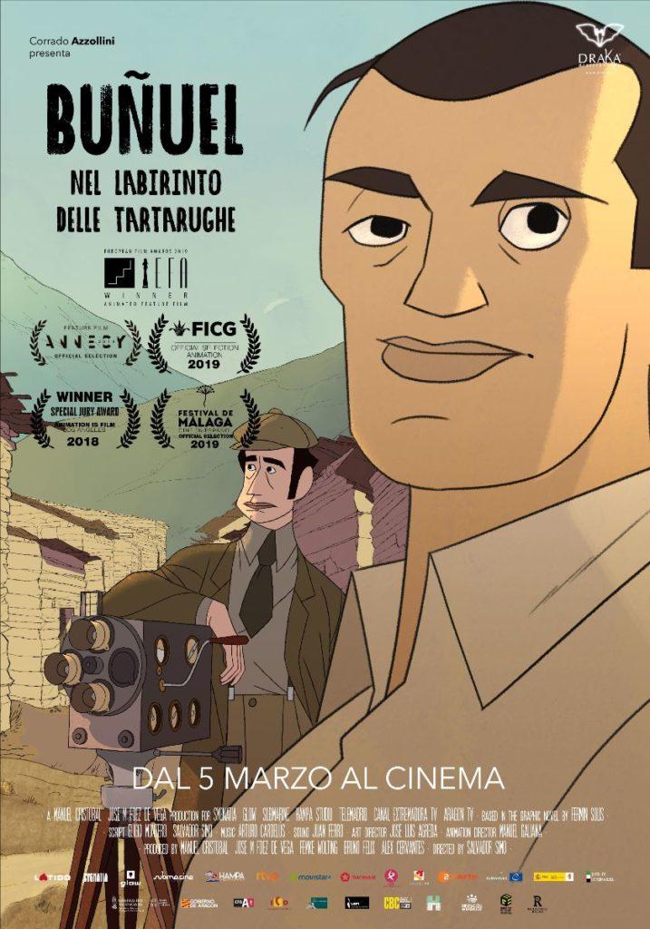 Il poster di Buñuel Nel labirinto delle tartarughe, dal 5 marzo al cinema.