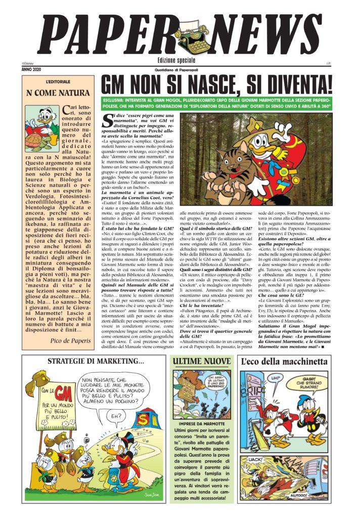 Il numero speciale del PaperNews in edicola con Topolino in occasione della Giornata della Terra 2020.