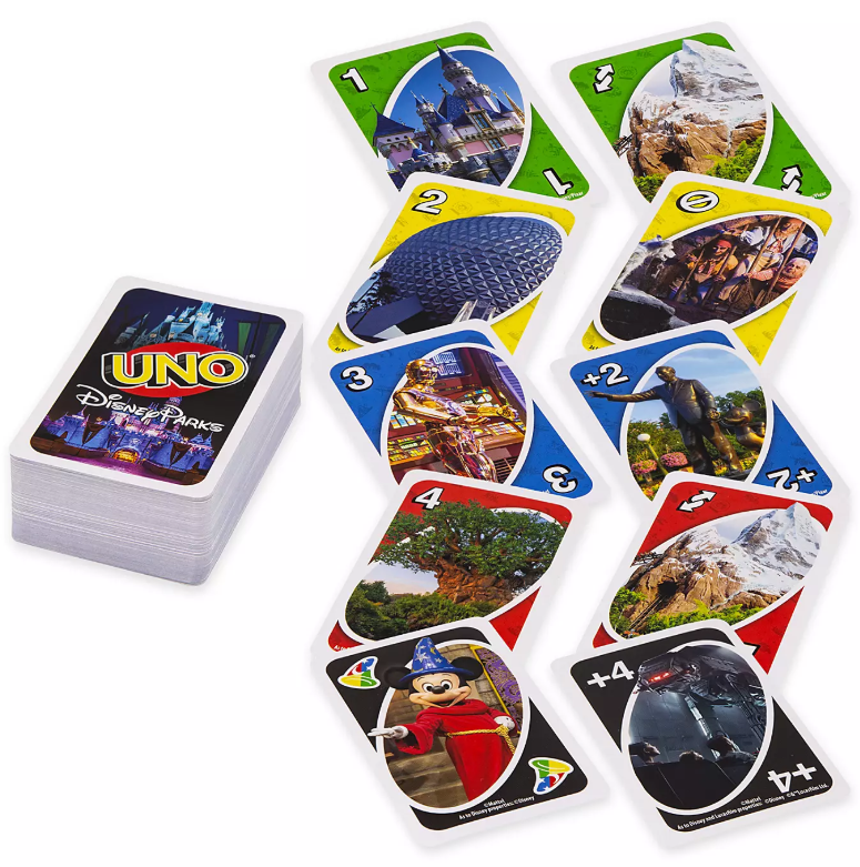 Il gioco UNO ispirato ai parchi Disney è disponibile su shopDisney.com.