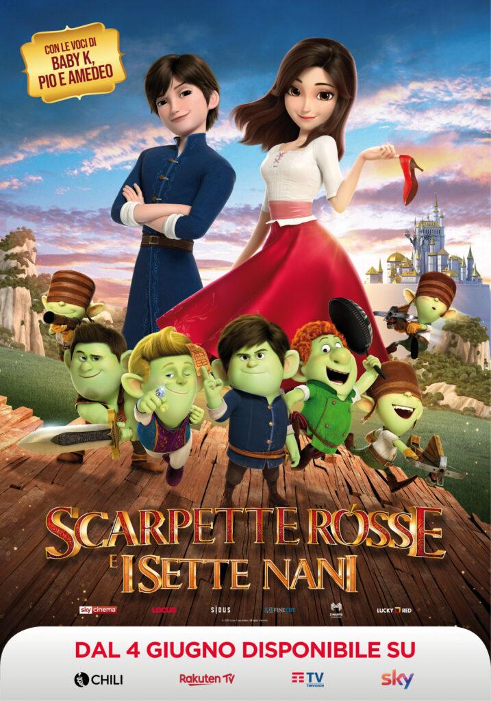 Il poster del film d'animazione Scarpette Rosse e i Sette Nani.