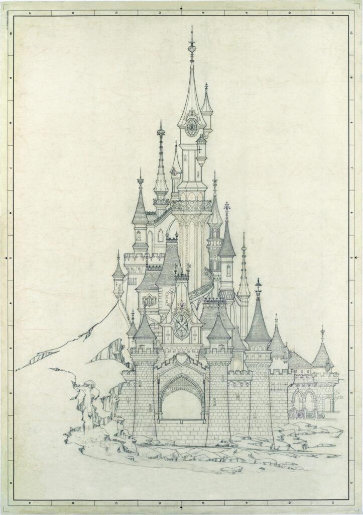 I piani per la costruzione del castello della Bella Addormentata a Disneyland Paris.