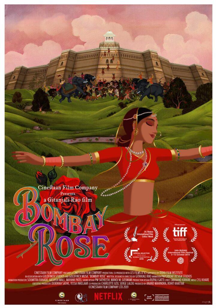 Il poster del film d'animazione indiano Bombay Rose, in arrivo su Netflix.