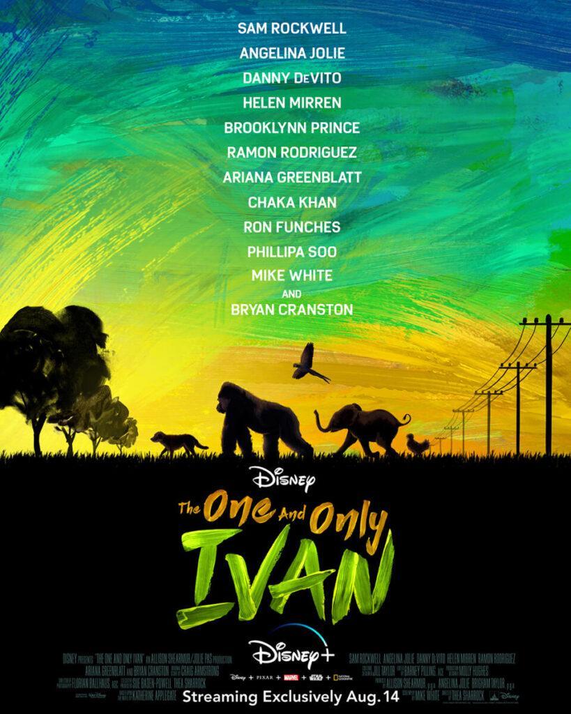 Il poster ufficiale di The One and Only Ivan, ad agosto su Disney+.
