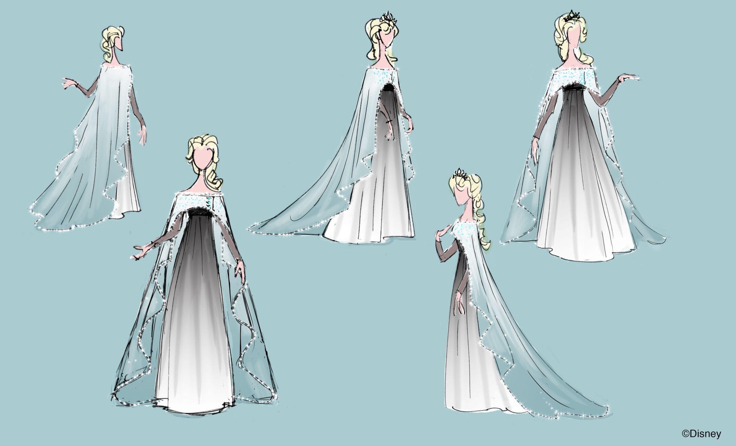Bozzetti per l'abito da ricevimento di Elsa