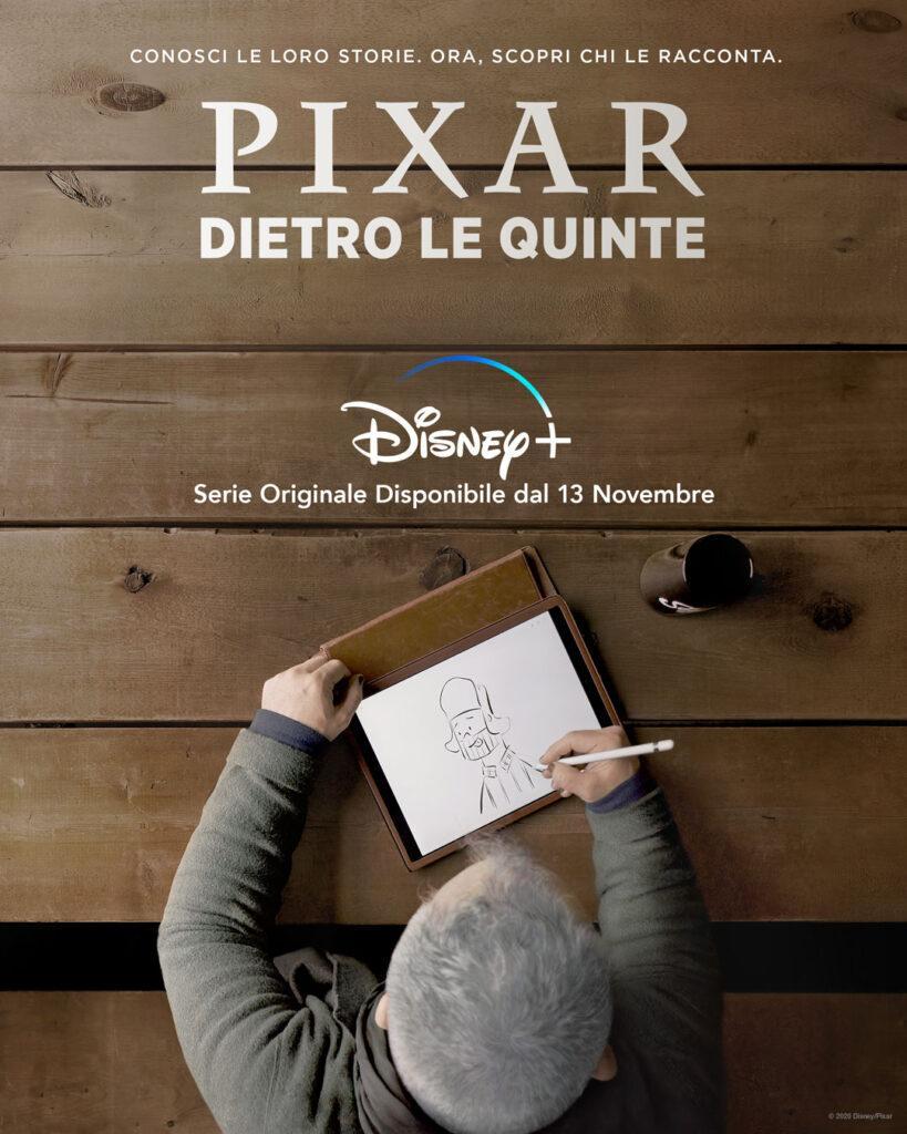 Il poster della nuova docuserie di Disney+ Pixar Dietro le quinte.