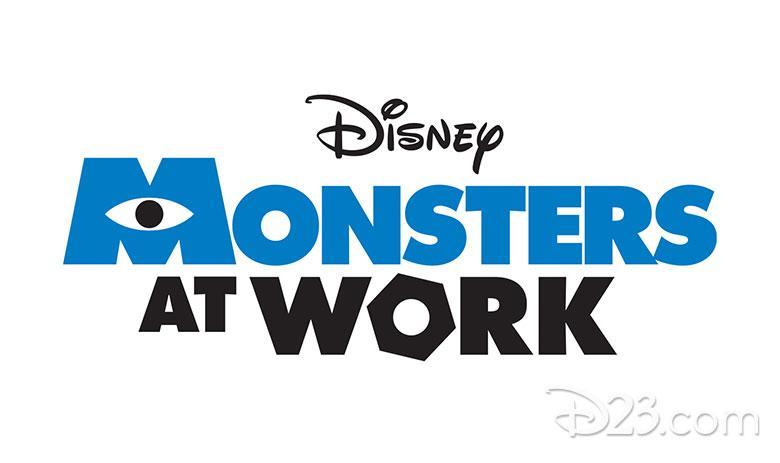 Nuovo logo della serie animata Monsters At Work in arrivo su Disney+ a luglio.
