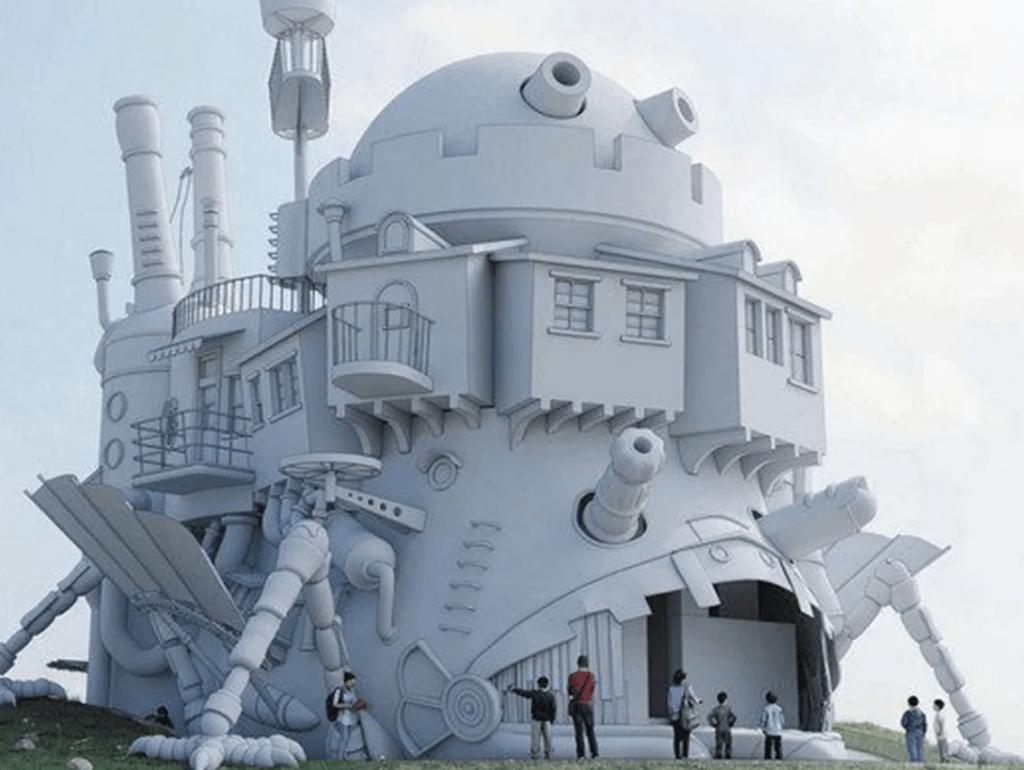 Il render del Castello Errante di Howl che verrà costruito al parco dello Studio Ghibli.
