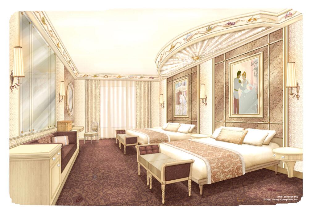 Concept art dei nuovi interni del Disneyland Hotel con la ritematizzazione dedicata alle principesse