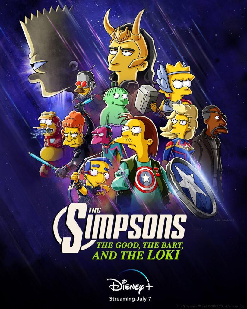 Il poster del nuovo cortometraggio de I Simpson crossover con Loki.